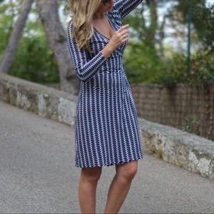Boden Blue White Grid Pattern Wrap Dress Sz 2